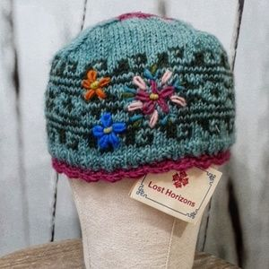 NWT - Hand Knit in Nepal Wool Lost Horizons Hat